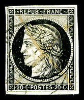 O N°3, 20c Noir Obl Càd Type 15 Du 14 Janvier 1849, TB (signé Calves)  Qualité: O  Cote: 250 Euros - 1849-1850 Ceres