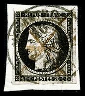 O N°3, 20c Noir Obl Càd Type 14 Du 16 Janvier 1849, TB (signé Scheller/certificat)  Qualité: O  Cote: 450 Euros - 1849-1850 Ceres