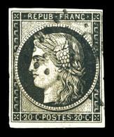 O N°3, 20c Noir Sur Jaune Obl GROS CHIFFRES, Infime Point Vermiculaire. TB. R. (signé Scheller/certificat)   Qualité: O  - 1849-1850 Ceres