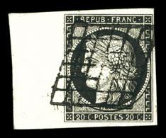 O N°3a, 20c Noir Sur Blanc, Bord De Feuille Latéral. SUP (signé Calves)  Qualité: O - 1849-1850 Ceres