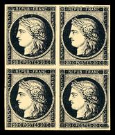 ** N°3h, 20c Noir Intense Sur Teinté En Bloc De Quatre, Fraîcheur Postale. SUP (certificat)  Qualité: ** - 1849-1850 Ceres