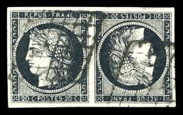 O N°3e, 20c Noir Sur Blanc En Paire Têtebêche Horizontale, Faux De Sperati, TB (certificat)  Qualité: O - 1849-1850 Ceres