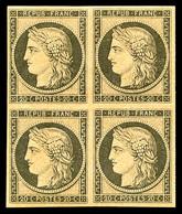 ** N°3f, 20c Noir Sur Jaune, Impression De 1862 En Bloc De Quatre (2ex*), FRAÎCHEUR POSTALE, SUPERBE (certificats)   Qua - 1849-1850 Ceres