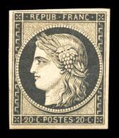 ** N°3f, 20c Noir Sur Jaune Impression De 1862, Fraîcheur Postale, SUP (certificat)  Qualité: ** - 1849-1850 Ceres