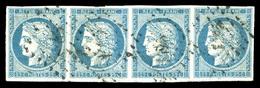 O N°4, 25c Bleu, Bande De 4. TTB (signé Calves/certificat)  Qualité: O  Cote: 1050 Euros - 1849-1850 Ceres