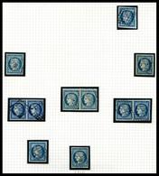 O 25c Cérès: Collection De 13 Exemplaires Dont Nuances, Paires Et Lettres, Très Belle Qualité. SUP  Qualité: O - 1849-1850 Ceres