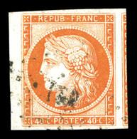 O N°5, 40c Orange, Grandes Marges Avec Voisin, Pièce Choisie. SUPERBE. R. (signé Scheller/certificat)  Qualité: O - 1849-1850 Ceres