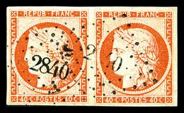 O N°5, 40c Orange En Paire Obl PC '2840', TB (certificat)  Qualité: O  Cote: 1200 Euros - 1849-1850 Ceres