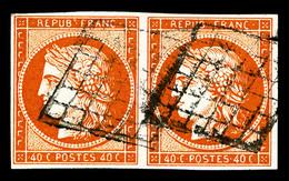O N°5b, 40c Orangefoncé En Paire Horizontale Oblitération Grille, Superbe Nuance, Rare (signé/certificat)   Qualité: O   - 1849-1850 Ceres