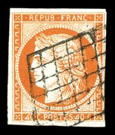 O N°5d, 40c Orange, Chiffres '4' Retouchés, Oblitération Grille. TB. R.R (signé Margues/certificats)  Qualité: O  Cote:  - 1849-1850 Ceres