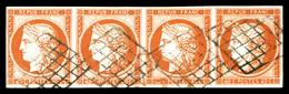 O N°5e, 40c Orange, Chiffres '4' Retouchés Tenant à Normaux Dans Une Bande De Quatre, Très Jolie Pièce. SUP. R. (certifi - 1849-1850 Ceres