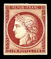 * N°6, 1F Carmin Foncé, Pelurage En Marge, Grande Fraîcheur, Très Jolie Pièce, RARE (signé Calves/certificats)   Qualité - 1849-1850 Ceres