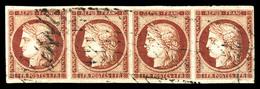 O N°6, 1F Carmin, Bande De 4 Exemplaires Obl Grille Sans Fin, Grandes Marges, Pièce Choisie. SUP (signé Calves/Scheller/ - 1849-1850 Ceres