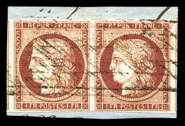 O N°6, 1f Carmin En Paire Avec Voisins à Droite Et à Gauche, Obl Grille Sans Fin Sur Son Support. SUP (signé Scheller/ce - 1849-1850 Ceres