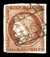 O N°6A, 1F Rougebrun Obl Grille. TB (signé Scheller/certificat)  Qualité: O  Cote: 3000 Euros - 1849-1850 Ceres