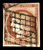 O N°6B, 1f Carminbrun Obl Grille. TB (signé Brun/certificat)  Qualité: O  Cote: 1100 Euros - 1849-1850 Ceres