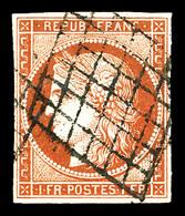 O N°7, 1f Vermillon, Jolie Nuance. SUPERBE. R. (signé Brun/certificats)  Qualité: O  Cote: 21000 Euros - 1849-1850 Ceres