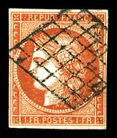 O N°7a, 1F Vermillon Viffoncé, Oblitération Grille, Très Belle Nuance Intense, SUPERBE. R.R.R (signé Calves/Brun/certifi - 1849-1850 Ceres