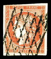 O N°7a, 1F Vermillon Vif Obl Grille Sans Fin, Légère Restauration, R.R.R (certificats)  Qualité: O  Cote: 26500 Euros - 1849-1850 Ceres