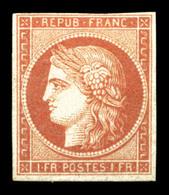 (*) N°7A, 1F Vermillon Pâle, Exceptionnellement Sans Aminci, SUPERBE. R.R. (signé Brun/certificats)  Qualité: (*)  Cote: - 1849-1850 Ceres