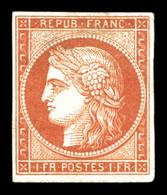 (*) N°7A, 1F Vermillon Pâle 'Vervelle', SUPERBE. R.R.R (signé Calves/certificat)  Qualité: (*)  Cote: 22500 Euros - 1849-1850 Ceres