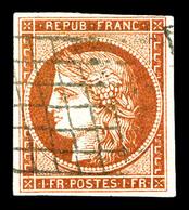 O N°7B, 1F Vermillon Terne, Quatre Belles Marges Et Oblitération Légère, Très Jolie Pièce. SUP. R.R. (certificats)  Qual - 1849-1850 Ceres
