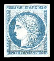 * N°8b, Non émis, 20c Bleu Sur Azuré, Quatre Belles Marges, Quasi **. SUP (signé Calves/certificats)   Qualité: *  Cote: - 1849-1850 Ceres