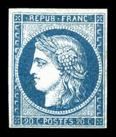 (*) N°8b, Non émis, 20c Bleu Sur Azuré, Grande Fraîcheur, RARE Et SUP (signé /certificat)   Qualité: (*)  Cote: 3200 Eur - 1849-1850 Ceres