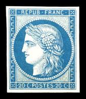 ** N°8f, Non émis, 20c Bleu Impression De 1862, Fraîcheur Postale, SUPERBE (certificat)   Qualité: ** - 1849-1850 Ceres