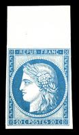 * N°8f, Non émis, 20c Bleu Impression De 1862 Bdf, Fraîcheur Postale, TTB (certificat)  Qualité: *  Cote: 800 Euros - 1849-1850 Ceres