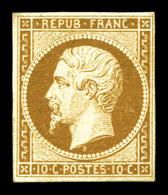 * N°9, 10c Bistre, Très Belle Couleur, Fraîcheur Postale, Pièce Exceptionnelle. SUPERBE. R.R.R. (signé Calves/Roumet/Bru - 1852 Louis-Napoleon