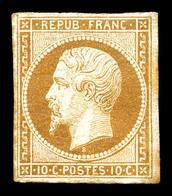 ** N°9, 10c Bistrejaune, Restauré, Belle Présentation. R.R. (certificats)  Qualité: **  Cote: 45000 Euros - 1852 Louis-Napoleon