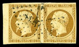 O N°9, 10c Bistre En Paire Horizontale, Bord De Feuille, TTB (signé Brun/certificat)  Qualité: O  Cote: 1900 Euros - 1852 Louis-Napoleon