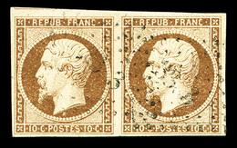 O N°9a, 10c Bistrebrun En Paire Horizontale, Jolie Couleur, SUP (signé/certificat)  Qualité: O  Cote: 2300 Euros - 1852 Louis-Napoleon