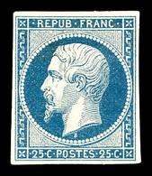 * N°10, 25c Bleu. SUPERBE. R.R. (signé/certificats)  Qualité: *  Cote: 5650 Euros - 1852 Louis-Napoleon