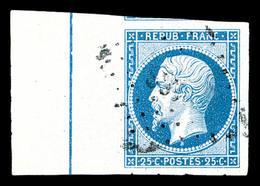 O N°10b, 25c Bleu Bord De Feuille Avec Filet D'encadrement, Infime Pelurage. TTB (signé Calves/certificat)  Qualité: O   - 1852 Louis-Napoleon