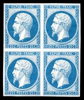 ** N°10c, 25c Bleu, Impression De 1862 En Bloc De Quatre (2ex*), Fraîcheur Postale. SUP (certificat)  Qualité: ** - 1852 Louis-Napoleon