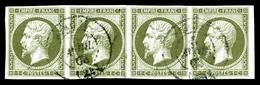 O N°11, 1c Olive, Bande De Quatre. TTB (signé Calves/certificat)  Qualité: O  Cote: 660 Euros - 1853-1860 Napoleon III