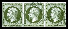O N°11a, 1c Bronze, Bande De 3. TTB (signé Scheller/certificat)  Qualité: O  Cote: 375 Euros - 1853-1860 Napoleon III