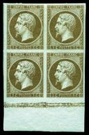 ** N°11c, 1c Mordoré, Bloc De Quatre Bas De Feuille Avec Voisins (2ex*), Fraîcheur Postale. SUP (certificat)  Qualité: * - 1853-1860 Napoleon III