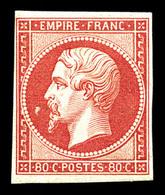 * N°17B, 80c Rose, Variété 'abeille Devant Le Nez', Très Frais. SUP (certificat)  Qualité: *  Cote: 3800 Euros - 1853-1860 Napoleon III