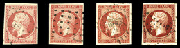 O N°17, 80c Empire, 4 Exemplaires Avec Nuances Et Obl Différentes. TB  Qualité: O - 1853-1860 Napoleon III