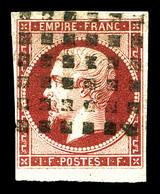O N°18, 1f Carmin Oblitération Gros Points, Très Jolie Pièce. SUP (signée Brun/certificat)  Qualité: O  Cote: 3500 Euros - 1853-1860 Napoleone III