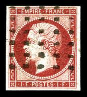 O N°18, 1f Carmin Oblitération Gros Points, Quatre Marges équilibrées. TTB (signé Calves/certificat)  Qualité: O  Cote:  - 1853-1860 Napoleone III