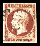 O N°18, 1F Carmin Obl PC, TB (signé Calves/certificat)  Qualité: O  Cote: 3400 Euros - 1853-1860 Napoleone III