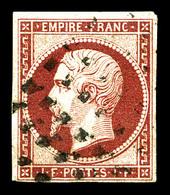 O N°18, 1f Carmin Oblitération Gros Points, Frais. TTB (certificat)  Qualité: O  Cote: 3500 Euros - 1853-1860 Napoleon III
