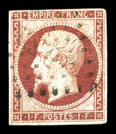 O N°18, 1F Carmin, Pelurage, Belle Présentation (signé Calves/certificat)  Qualité: O  Cote: 3400 Euros - 1853-1860 Napoleon III