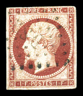 O N°18, 1F Carmin, Pelurage, Belle Présentation (signé Calves/certificat)  Qualité: O  Cote: 3400 Euros - 1853-1860 Napoleone III