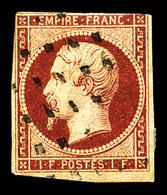 O N°18, 1f Carmin Oblitération Gros Points Carrés, Defectueux (certificat)  Qualité: O  Cote: 3500 Euros - 1853-1860 Napoléon III
