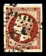 O N°18, 1F Carmin Oblitéré 'DS2' Sur Fragment, Belle Nuance, TB (certificat)  Qualité: O  Cote: 3400 Euros - 1853-1860 Napoleone III